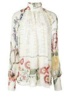 Oscar de la Renta floral Calligraphy print blouse - White