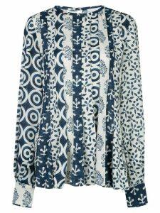 Oscar de la Renta woodblock print blouse - Blue
