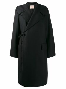 Plan C double-breasted tied coat - Blue