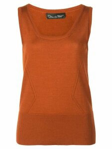 Oscar de la Renta scoop neck knit top - ORANGE