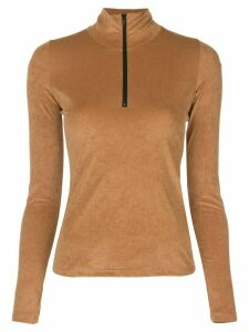 John Elliott zip-up fitted top - Brown