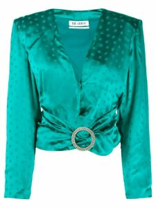 The Attico star print crystal-buckled blouse - Green