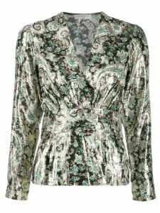Sandro Paris patterned v-neck blouse - GOLD