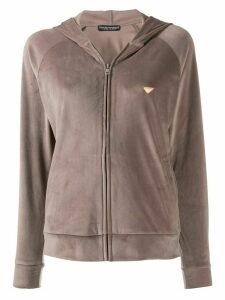 Emporio Armani velour zipped hoodie - NEUTRALS