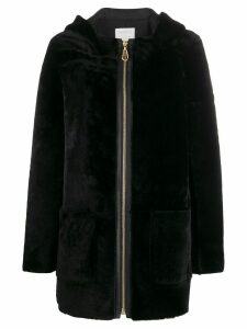 Sandro Paris zip-front long-sleeve coat - Black