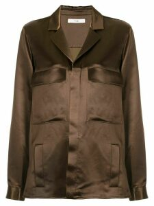 Tibi satin shirt jacket - Brown