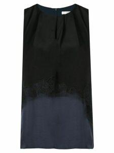 Tibi patchwork sleeveless layered blouse - Blue