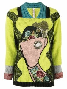 Antonio Marras lace-panelled jumper - Green