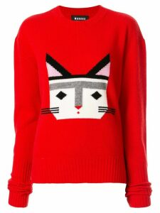 Markus Lupfer Intarsia Cat Face jumper - Red