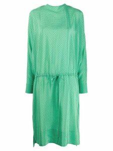 Plan C drawstring polka dot dress - Green