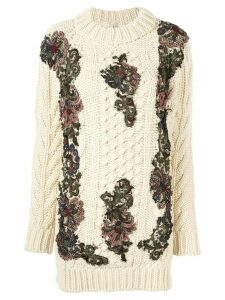 Antonio Marras floral-appliquéd chunky-knit jumper - Yellow