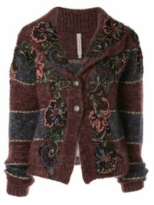 Antonio Marras floral-appliquéd striped cardigan - Red