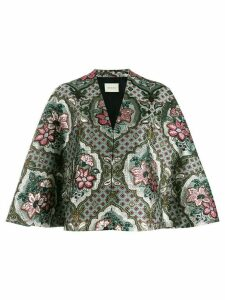Gucci geometric floral jacquard cape - Green