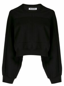Marios geometric seam cropped sweatshirt - Black