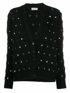 Saint Laurent ring embellished knitted cardigan - Black