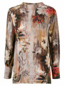 L'Autre Chose floral print silk blouse - NEUTRALS