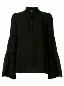 Andrew Gn silk woven high neck blouse - Black