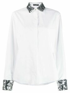 Dolce & Gabbana glitter collar and clutch shirt - White