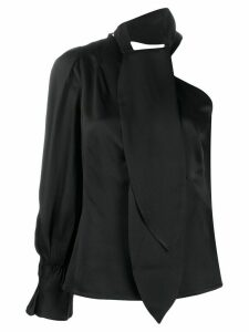 Peter Pilotto one-shoulder satin top - Black