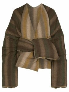 ASAI striped tie front puffer jacket - Brown