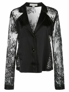 Fleur Du Mal Cillis lace-panel silk top - Black