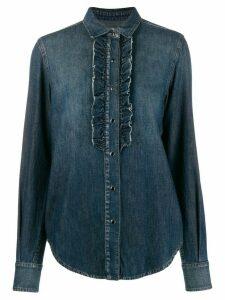 Saint Laurent ruffled front denim shirt - Blue