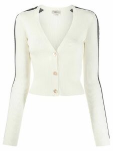 Fiorucci knitted ribbed logo cardigan - NEUTRALS