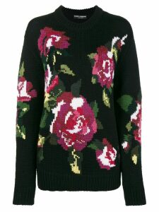 Dolce & Gabbana Flower knitted wool & cashmere sweater - Black