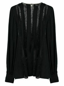 Oscar de la Renta georgette lace blouse - Black