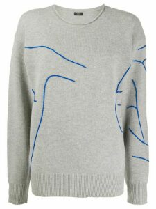 Joseph embroidery crew neck jumper - Grey