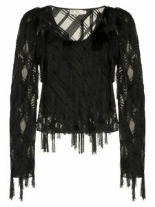 XU ZHI checked appliqué long-sleeved top - Black