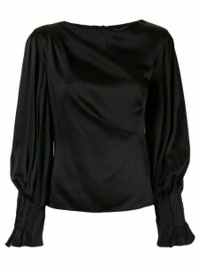 Peter Pilotto pleated sleeve ruched blouse - Black
