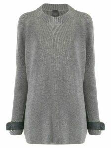 Lorena Antoniazzi strap cuffed jumper - Grey