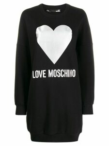 Love Moschino heart print long sweatshirt - Black