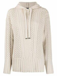 Lorena Antoniazzi multi-knit slouchy hoodie - NEUTRALS