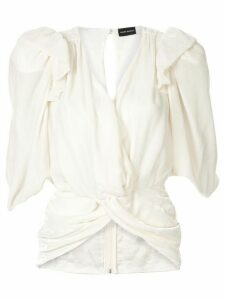 Magda Butrym crushed velveteen blouse - White