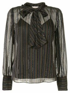 Rebecca Taylor striped metallic detail blouse - Black