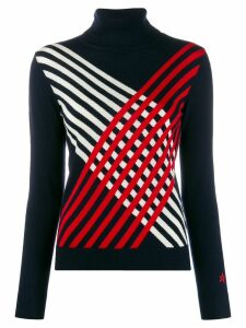 Perfect Moment criss-cross striped jumper - Blue