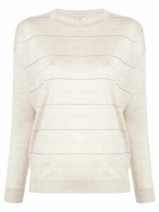 Brunello Cucinelli sequin trim jumper - Neutrals