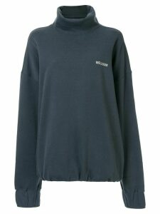 We11done Logo Stitched Turtleneck Sweatshirt - Blue