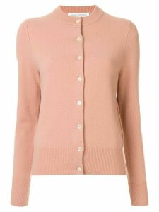 Extreme Cashmere ribbed neckline classic cardigan - PINK