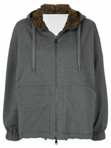 Brunello Cucinelli reversible cotton hoodie - Grey