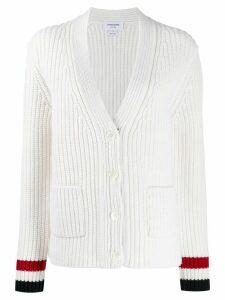Thom Browne Tricolore trim cardigan - White