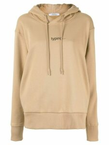 Kseniaschnaider text print drawstring hoodie - Brown