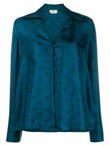 Fendi silk logo printed shirt - Blue