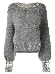 Alberta Ferretti contrasting cufs jumper - Silver