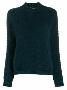 Fendi knitted FF pattern crew neck jumper - Blue