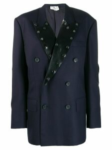 Christopher Kane tailored latex lapel blazer - Blue
