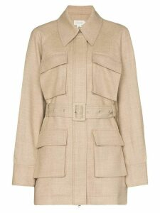 Low Classic multi pocket belted shirt jacket - NEUTRALS