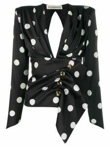 Nineminutes buttoned v-neck blouse - Black